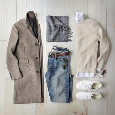 Sweater: Oatmeal Bellevue Cashmere/Merino Denim: /baldwin/ Topcoat: /jcrew/ Herringbone Belt: /toddsnyderny/ Scarf: /thetiebar/ Shoes: Court Classic Watch: by Komplette Outfits, Casual Outfits, Men Casual, Fashion Outfits, Fashion Trends, Casual Wear, Smart Casual, Fashion Ideas, Mode Masculine