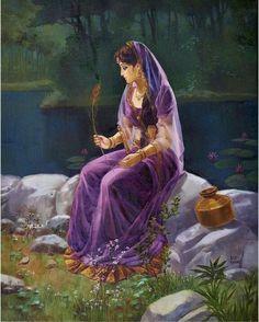 Love story Lord Krishna and Radha Indian Women Painting, Indian Art Paintings, Krishna Painting, Krishna Art, Hare Krishna, India Painting, Woman Painting, India Art, Krishna Pictures