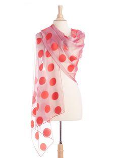 red and pink polka dot sheer silk scarf