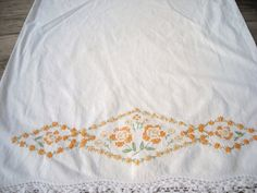 Embroidered Flower Pillowcase by ContemporaryVintage on Etsy, $8.00