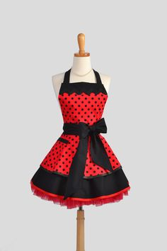 Ruffled Retro Apron , Handmade Flirty Full Womens Apron in Michael Miller's Rouge et Noir Thats it Dot Ruby and Black. $45.00, via Etsy.