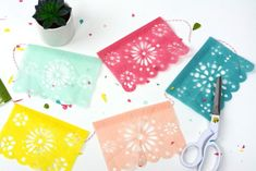 Diy cinco de mayo fiesta banner - papel picado - the crafting chicks Diy And Crafts Sewing, Crafts To Sell, Pattern Curator, Wedding Tissues, Mexican Flags, Crepe Paper, Tissue Paper, Paper Banners, Diy Banner