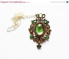 Zelena necklace, Once upon a time, wicked witch pendant, emerald Necklace, fairytale pendant, ouat jewelry, ouat necklace