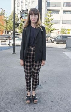 Plaid look for casual.  I would add a stacked heel, black ankle boot.  Ditch the tuxedo jacket and replace it with a cashmere cardigan that goes in at the waist.