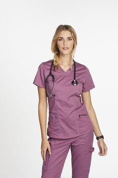 The Beyond Scrubs Ellie 4 Pocket V-Neck Scrub Top is made with stretch fabric and roomy pockets. Shop for yours at Scrubs & Beyond. Cute Nursing Scrubs, Cute Scrubs, Nursing Clothes, Nursing Dress, Nursing Uniforms, Scrubs Outfit, Scrubs Uniform, Cute Fashion, Look Fashion