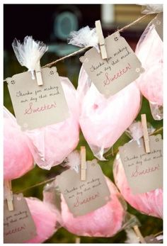 """Cotton Candy Weddings-Cotton Candy Wedding Favors. """"Thanks for making our day that much sweeter"""" attached to bags of cotton candy feel personal and heartfelt. What better way to thank friends and family for coming? Just remember to choose a compostable cellophane bag!"""