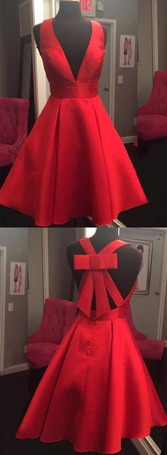 homecoming dresses, 2017 homecoming dresses, short homecoming dresses, short red homecoming dresses, v neck short homecoming dress with bow
