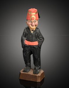 hand carved wood figurine Shriner in fez signed Hannah VT 6 in fine condition with no breaks or repairs. finely carved and painted features, Carved Wood, Hand Carved, Whittling, Wood Sculpture, Little People, Ceramic Art, Wood Crafts, Plane, Sculpter