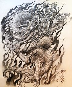 Original dragon drawing and design by aka Hope everyone would like itThank you for viewing Tatoo Designs, Japanese Tattoo Designs, Dragon Tattoo Designs, Asian Tattoos, Trendy Tattoos, 1 Tattoo, Body Art Tattoos, Dragons, Dragon Sketch