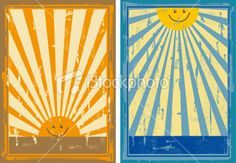 Vintage Sun Signs Royalty Free Stock Vector Art Illustration