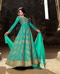1. Sea Green Australian silk anarkali suit 2. Heavy golden zari embroidery work all over 3. Comes with a matching bottom and georgette dupatta 4. Can be stitched upto bust size 42 inches