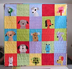 Puppies quilt - made by Marsha with a pattern from Shiny Happy World