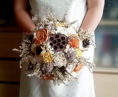 BIG cream ivory brown orange yellow rustic autumn fall wedding BOUQUET sola flowers roses, limonium lotos pine cones bell cup Burlap Handle - pinned by pin4etsy.com