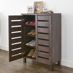Slatted Shoe Storage Cabinet - Mahogany Effect at STORE. Mahogany effect shoe storage cabinet with slatted doors. Store up to 12 pairs of shoes Shoe Storage Trunk, Hallway Shoe Storage Bench, Coat And Shoe Storage, Ikea Storage, Storage Ideas, Diy Drawers, Storage Drawers, Storage Shelves, Storage Benches