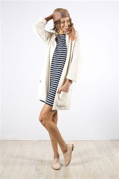 Oversized Striped Dress in Navy/White - bohemian traders