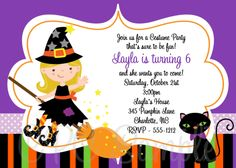 Kids halloween costume party birthday invitation printable from just witch birthday invitation halloween birthday invitation printable 1500 via etsy filmwisefo Images