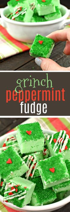 Grinch Peppermint Fudge #christmascandy #christmastreats #christmasrecipes #christmasbaking #peppermint #fudge #candy