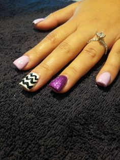 Acrylic purple and Chevron nail art
