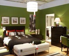 Dormitorios en verde y marrón