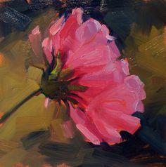 Plein Air Flower Garden Pink Park Floral Art 6x6 inches Original Painting a Day #Impressionism