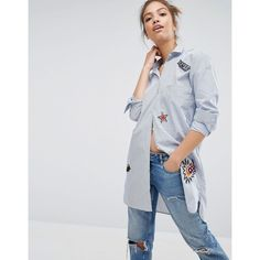 Pull&Bear Longline Stripe Shirt With Badges ($46) ❤ liked on Polyvore featuring tops, multi, longline shirt, applique shirts, striped cotton shirt, patch shirt and striped top