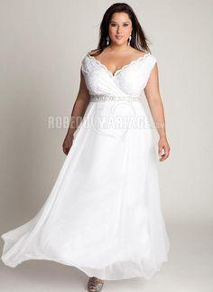 Chiffon robe de mariée grande taille ceinture col en v [#ROBE209943] - robedumariage.com
