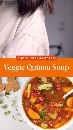 Veggie Quinoa Soup, Cauliflower Soup Recipes, Vegetarian Soup, Chicken Soup Recipes, Healthy Chicken Recipes, Veggie Recipes, Indian Food Recipes, Real Food Recipes, Vegetarian Recipes