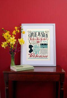 Jane Austen  I titoli delle opere  stampa 320 x di PemberleyPond, €15.00