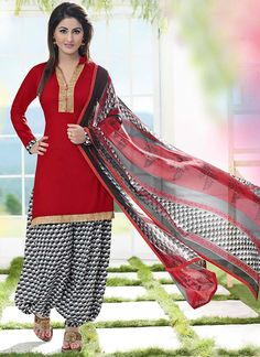 Red Patiala Salwar Kameez.