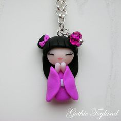Japanese Doll Pendant in Polymer Clay Pink