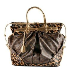 Pre-Owned Louis Vuitton Limited Edition Monogram Leopard Steamer Tote Purse Brown/Multi