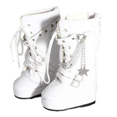 White Tall Vinyl Rocker Boots for 18 Inch Dolls Like American Girl All American Girl Dolls, Rocker Boots, Leather Lace Up Boots, 18 Inch Doll, Sneakers, Stuff To Buy, Shoes, Tennis, Slippers