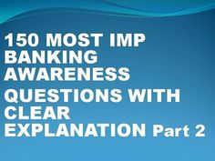 Banking Awareness 150 Most Important Questions Part 2 - YouTube