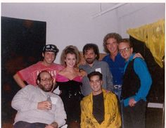 Kon Kan Backstage at The Palladium New York City Sept 1989 with Kim Esty, Marc Nathan (Atlantic Records) and  Skip Gildersleeve (Tour Manager)