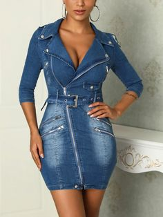 Denim V-Neck Zipper Design Bodycon Dress Online Fashion Stores, Womens Fashion Online, Jeans Dress, Denim Fashion, Dress Fashion, Pattern Fashion, Sexy Outfits, Dress To Impress, Short Dresses