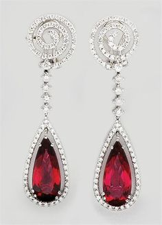 Rubellite and eiamond earrings