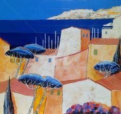 """"""" Méditerranée """" (Peinture),  60x60 cm par JULIE PIOCH Huile sur toile de lin  , Paysage Méditerranéen ."""