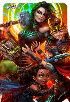 ArtStation - Thor: Ragnarok __ Revengers vs.Hela, SpiderWee .