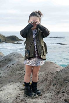 Sequin dress Little Marc Jacobs, jacket Burberry,  boots Doc Martens, socks Crew Cuts, bag / flask Chanel