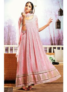Lovely Pink Resham Work Faux Georgette Anarkali Suit, Product Code :5905, shop now http://www.sareesaga.com/lovely-pink-resham-work-faux-georgette-anarkali-suit-5905  Email :support@sareesaga.com What's App or Call : +91-9825192886