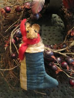 Little mouse in stocking, made from an old quilt, on sale now at Green Creek Primitives blog