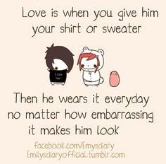 Love is when you give him your shirt or sweater. Then he wears it everyday no matter how embarrassing it makes him look. Potato Meme, Potato Funny, Cute Potato, Tiny Potato, Potato Girl, Cute Disney Drawings, Kawaii Drawings, Cute Drawings, Cute Memes