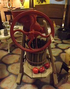 Primitive Antique APPLE CIDER PRESS-Very Old WOOD STAND & Bucket