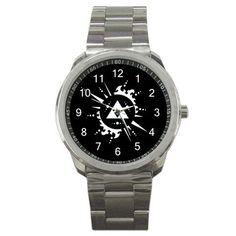 The Legend Of Zelda Hylian Triforce Logo Sport Metal Stainless Steel Wristwatch via Greatest Gift