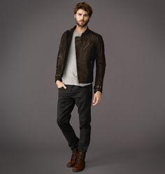 belstaff boots, t-shirt, leather jacket.