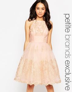 Chi Chi London Petite Halter Neck Lace Prom Dress