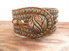 Red Creek Jasper Beaded Leather Wrap Cuff, 5 Row Beaded Cuff, Leather Wrap bracelet, Boho Leather Wrap
