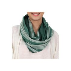 NOVICA Hand Woven Green and White 100% Cotton Infinity Scarf (307.100 IDR) ❤ liked on Polyvore featuring accessories, scarves, clothing & accessories, infinity, white, white scarves, green infinity scarf, infinity circle scarf, green scarves and striped infinity scarf