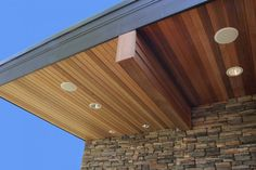 Love this european cedar soffit overhang with black - Exterior tongue and groove cladding ...