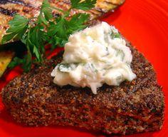 Pepper- Grilled Tuna Steak With Parsley- Garlic Butter
